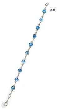 Armband met blauwe medailles 16.5 cm