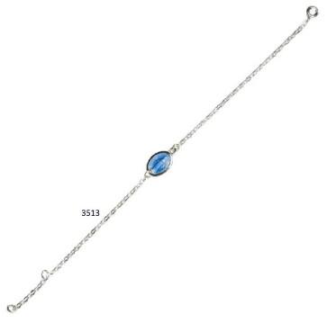 Armband met blauwe medaille 19.5 cm ZILVER