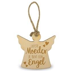 Houten Engeltje 6 cm - Liefste moeder je bent een engel