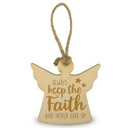 Houten Engeltje 6 cm -always keep the faith and never give up