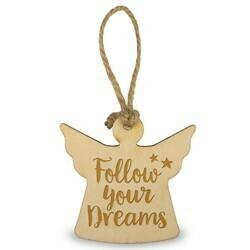 Houten Engeltje 6 cm -follow your dreams