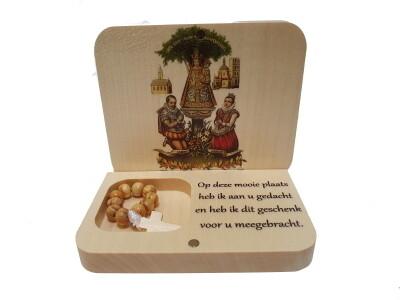 Doosje-Staander in hout met Tientje van Scherpenheuvel
