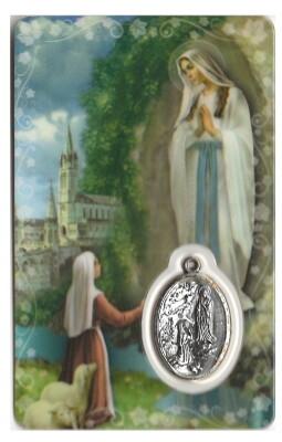 OLV Lourdes Kaartje met Medaille en Gebed