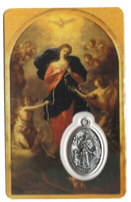 OLV van de Knopen Kaartje met Medaille en Gebed