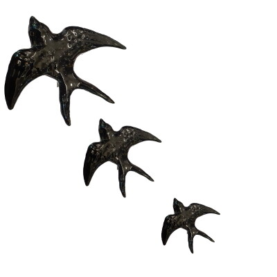 Zwaluwen set van 3 in keramiek