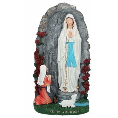 Olv Lourdes met Bernadette in grot 20 cm