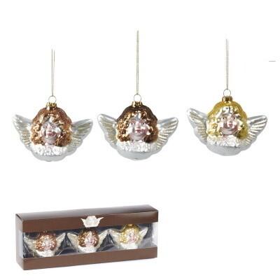 3 x engel in doos -boomdecoratie -