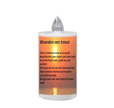 Graflicht op batterijen VLAMEFFECT -WOORDEN VAN TROOST -