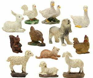 Dieren set van 12 stuks voor 7 - 8 cm figuren