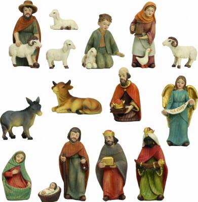 Kerstset, 11 figuren, houtlook, 10 cm
