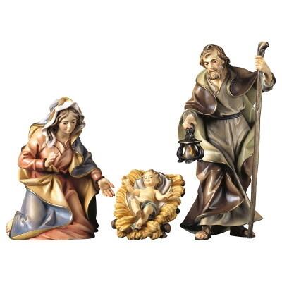 Heilige familie in houtsnijwerk 15 cm gekleurd