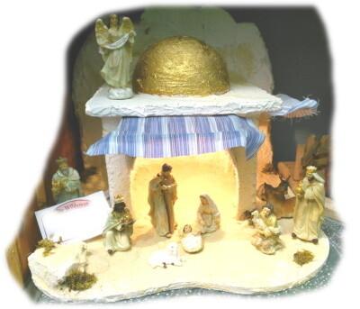 """Kerststal """"Oriental"""" MET LICHT voor figuren van 8-9 cm 30x30x30 cm (beelden niet inbegrepen )"""
