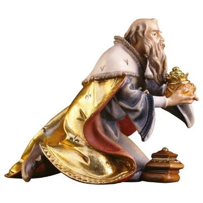 Koning Melchior in houtsnijwerk 15 cm gekleurd