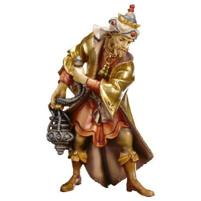 Koning Balthasar in houtsnijwerk 15 cm gekleurd