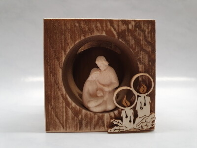 Kerstset in Blok Hout 8 cm