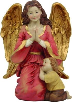 Engel met jongen 15 cm