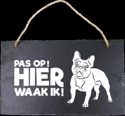 Franse Bulldog Leisteen 15 x 15 cm