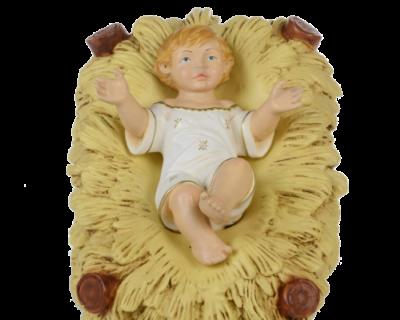 JEZUS EN KRIBBE, onbreekbaar materiaal, voor figuren van 65 cm