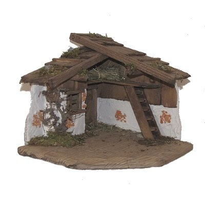 Kerststal SINZING 30x30x28 cm   voor 9-12 cm figuren