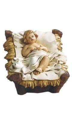 Jezus in kribbe, onbreekbaar materiaal, voor figuren van 40 cm