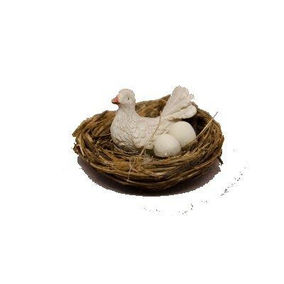 Nest met vogel en 2 eieren  3 cm