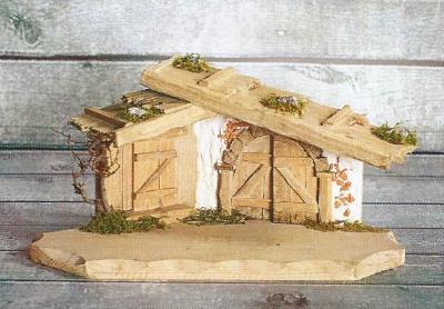 Kerststal GRAFENAU   40 x 20 cm   voor 10 - 12 cm figuren