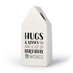 Happy Birthday - Huisvaasje in porselein 6.6 x 6.5 x 15 cm