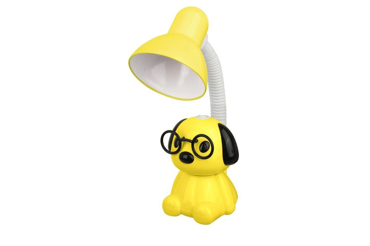 Ученические лампы Camelion KD-396 св-к настольный 40W E27 Собака, белый и желтый. металл/пластик, шнур 1,5м