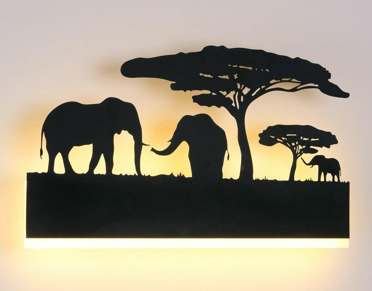 Бра 3D Слоны 6013-16W Black