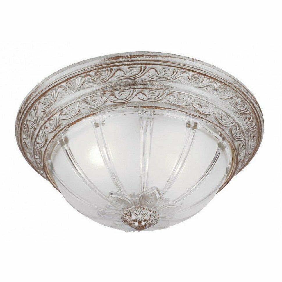 Светильник накладной ARTELAMP св-к накладной 2x60W E27 350x170 прозрачный/античный белый PIATTI A8014PL-2WA