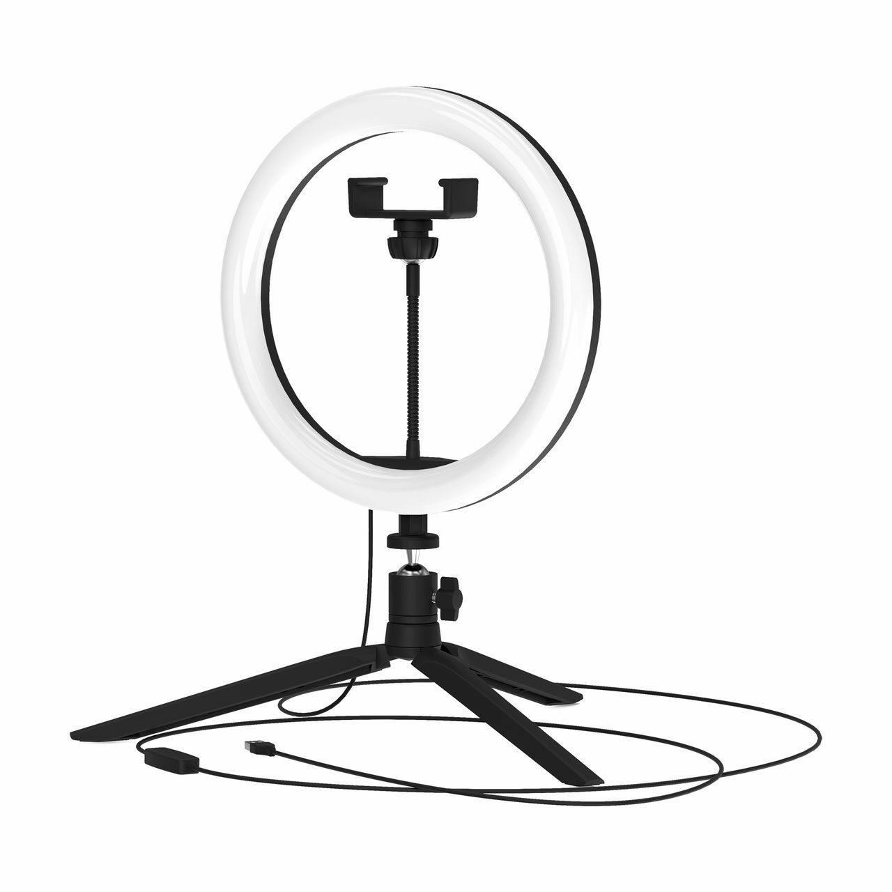 Кольцевая  лампа селфи Gauss  св-к 14W(700lm) D26см USB пульт тренога IP20 Ring Light RL002