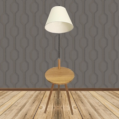 Торшер со столиком D8071 коричневый/белый абажур  1x40W E27 h14cm, DUO20