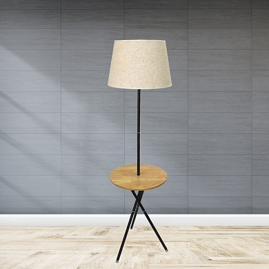 Торшер со столиком D8068 коричневый/белый абажур  1x40W E27 h14cm