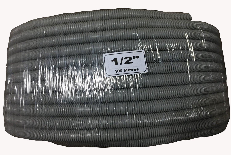 "Tubo Corrugado PVC 1/2"" Gris"