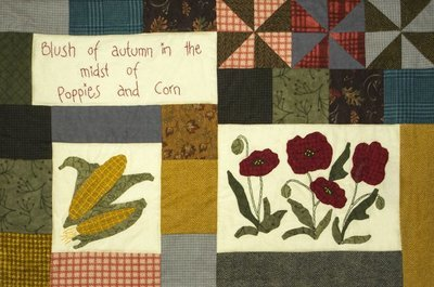6 mth BOM quilt  - Autumn Beckons - Month 1 Poppies and Corn PDF Pattern