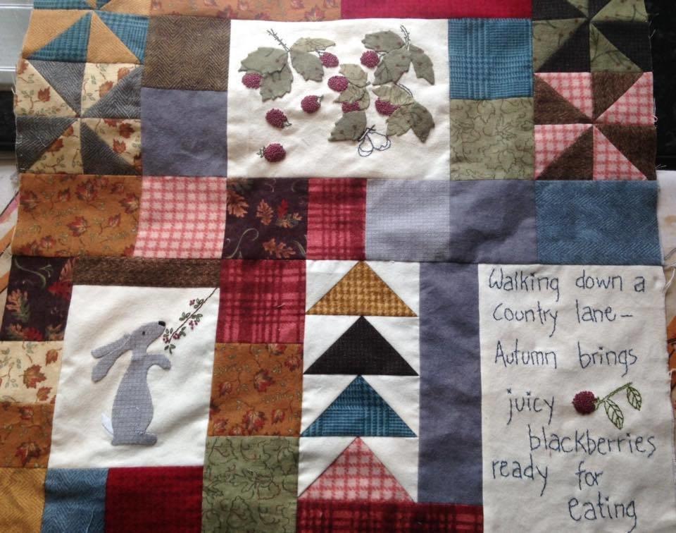 6mth BOM quilt Autumn Beckons - Month 3 Blackberry hedgerows PDF pattern