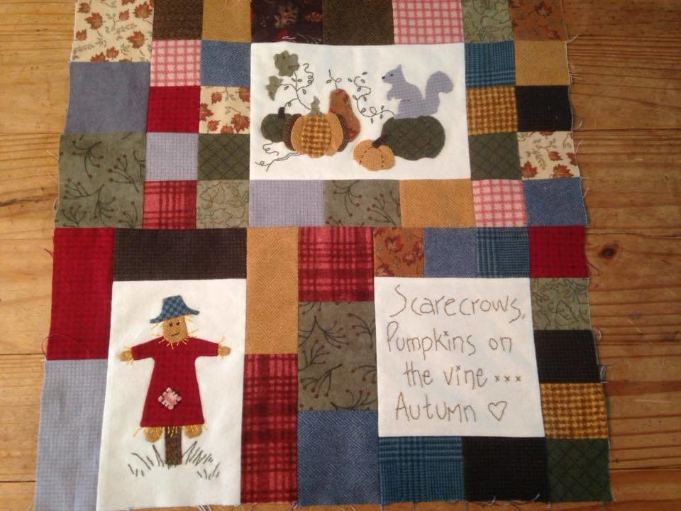 6mth BOM Quilt Autumn Beckons - Month 4  Pumpkins & Scarecrows PDF pattern