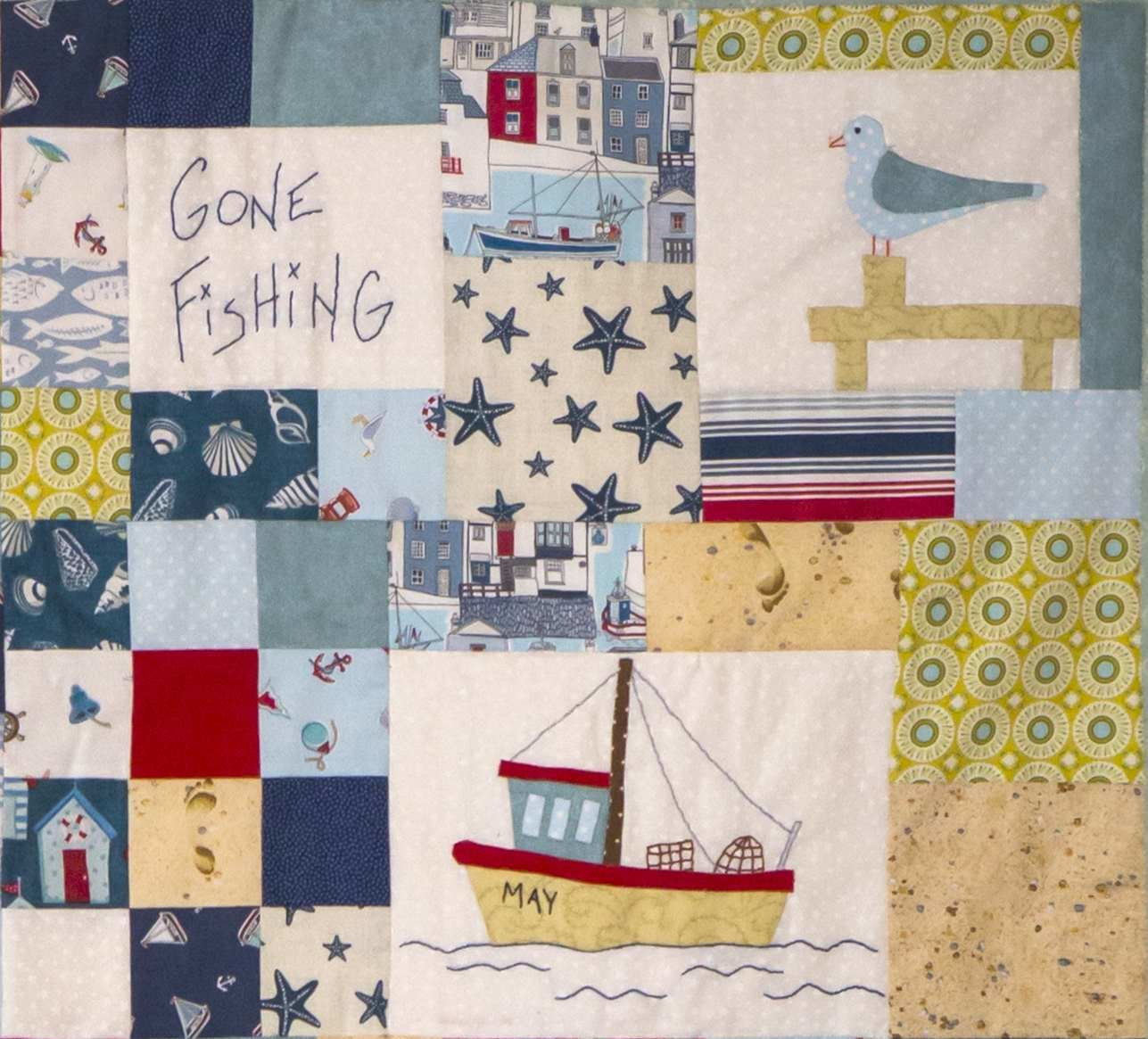 6mth BOM quilt - Down by the seaside - Month 2 Gone Fishing PDF pattern