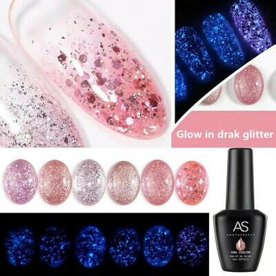 AS Glow in dark Glitter Gel Polish