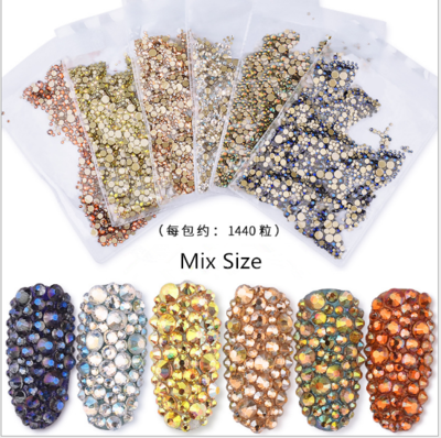 1440pcs Mix Size AB Diamonds Flat Bottom