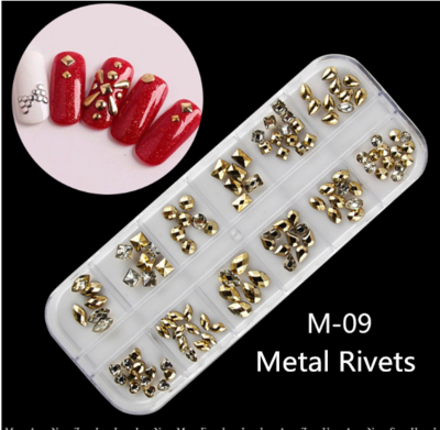12 Metal Rivets Nail Decoration M-09