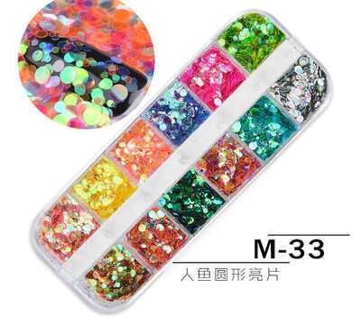 12 Mermaid Round Nail Decoration M-33