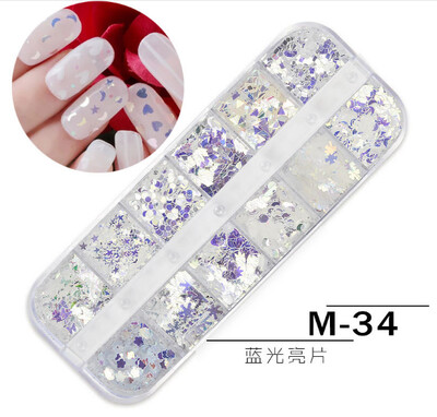 12 Grids Nail Decoration M-34