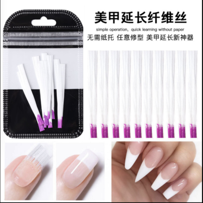 10pcs Fiber Glass Nail Extension for UV Gel Building French Manicure Acrylic Fiberglass Nail Forms Salon Tool Tips