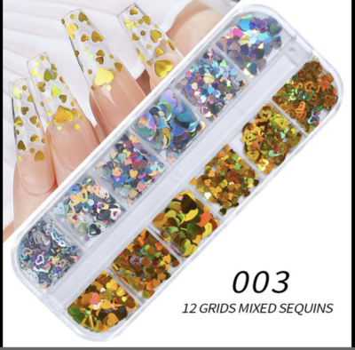 12 Grids Silver Gold Heart Nail decration