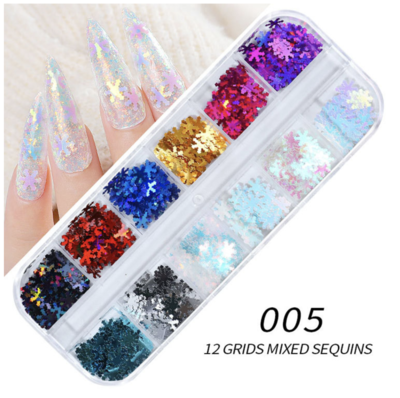12 Grids SnowFlake Nail decoration
