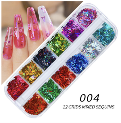 12 Grids Alphabet Nail decoration