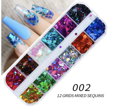 12 Grids Colorful Heart Nail decoration