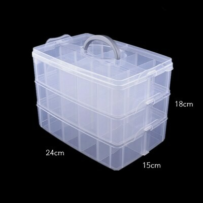 3 layer 30 grid clear plastic storage box - Large
