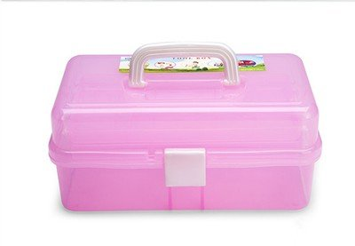Plastic Pink Tool Box Manicure Pedicure Make Up